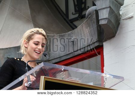 LOS ANGELES - MAY 4:  Kristen Stewart at the Jodie Foster Hollywood Walk of Fame Star Ceremony at the TCL Chinese Theater IMAX on May 4, 2016 in Los Angeles, CA