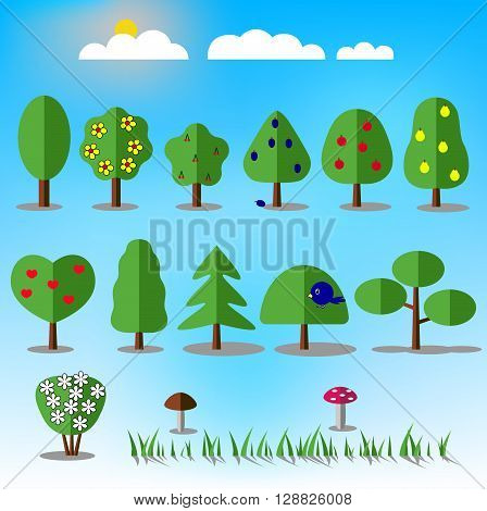 Tree icons set. Nature collection. Trendy and beautiful set of flat floral elements. Include grass mushrooms berries bushes trees and fruit trees. Sun and clouds. Stock vector illustration