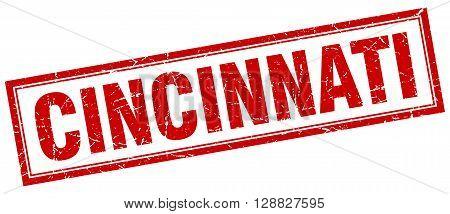 Cincinnati red square grunge stamp on white