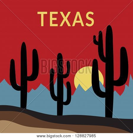 Texas Typography Graphics. Fashion stylish printing design for sportswear apparel. Western Desert Landscape Sunset with cactus sun mountains. Concept in modern style for print production. Vector