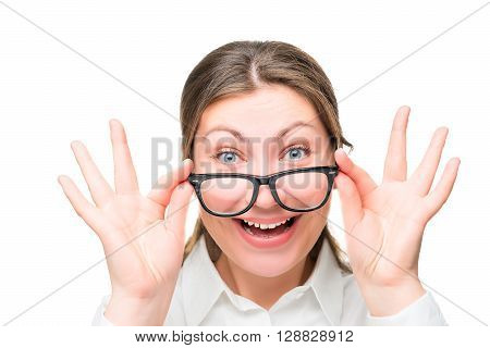 Emotional Woman Face - Office Worker Wearing Glasses