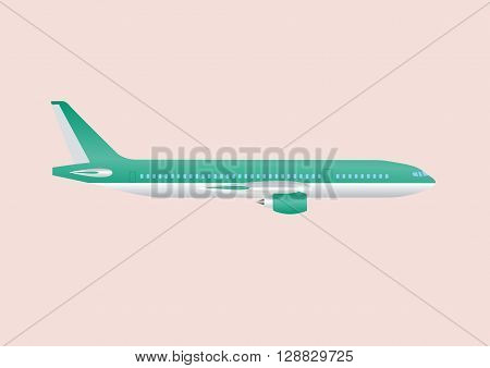 Civil aviation travel passenger air plane vector illustration. Civil commercial airplane.Airplane isolated on background. Cargo transportation airplane vector isolated