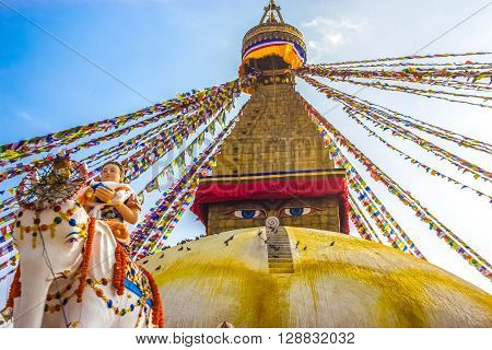 Eyes of buddha are watching the god riding an Elephant in the sacred place of buddhist in Boudhanath Stupa KathmanduNepal.