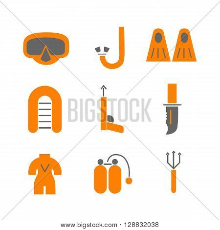 Vector spearfishing illustration. Spearfishing icon isolated on white background. Fishing vector. Icon Flat style illustration. Spearfishingl isolated vector