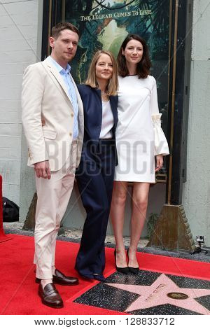 LOS ANGELES - MAY 4:  Jodie Foster, Jack O'Connell, Caitriona Balfe at the Jodie Foster Hollywood Walk of Fame Star Ceremony at the TCL Chinese Theater IMAX on May 4, 2016 in Los Angeles, CA