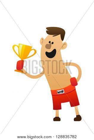 cartoon character cheerful boxer fun with trophy
