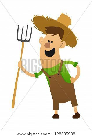 cartoon character cheerful farmer with a pitchfork in a hat