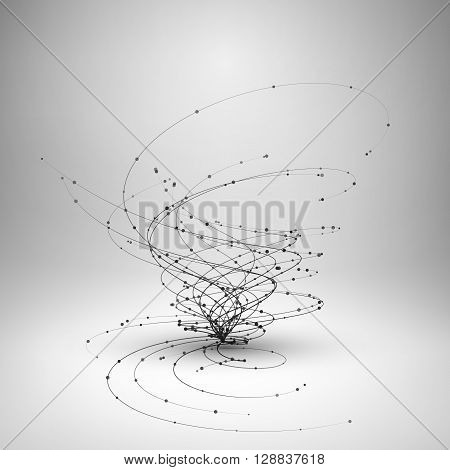 Tornado. Swirl with connected line and dots. Wired structure. Technology background. Vector illustration.