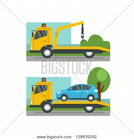 Car evacuation concept. Road assistance. Vector flat illustration.