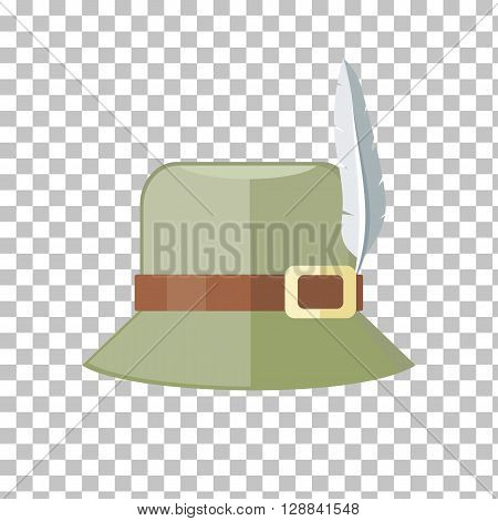 Summer hat isolated on checkered background. Green panama with brown ribbon for protection from sun and rain weather conditions. Hunter hat with feather. Garment for wearing head. Vector illustration