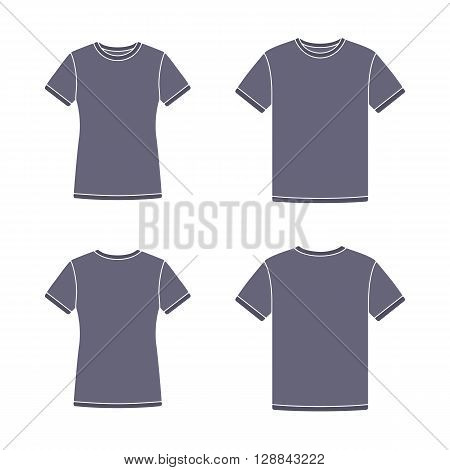 Mens and womens black short sleeve t-shirts templates. Front and back views. Vector flat illustrations