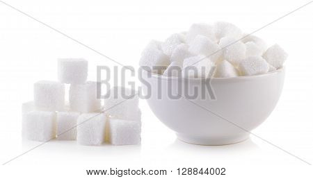 sugar cube in the bowl on white background