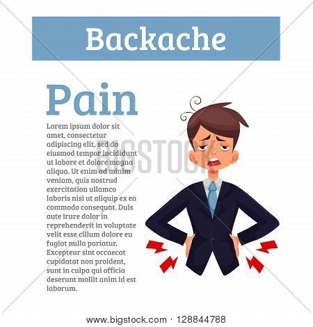 Lumbar pain in a man back pain in a human cartoon, color illustration with concept of disease back, violation of waist, lumbar vertebrae and intervertebral discs