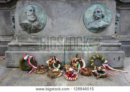 Statue in the Reconciliation Park of Arad, Romania