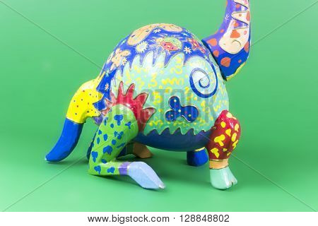 handicraft, craftwork, workmanship, giraffe, camelopard, colorful, colourful, colored, green background poster