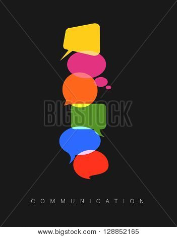 Vector abstract Communication concept illustration - dark vertical communication version