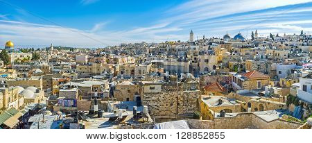 Panorama of the city from the top of Damascus Gate including the Muslim and Christian Quarters Jerusalem Israel.