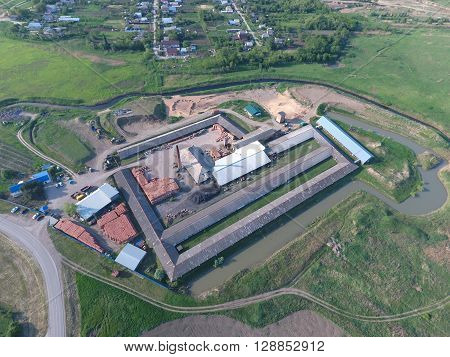 Top View Of A Small Factory For Firing Bricks.