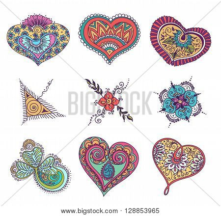 Vector abstract pattern of tattoo henna. Stock mehndi set for design on white background.