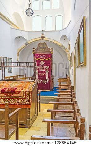 JERUSALEM ISRAEL - FEBRUARY 18 2016: The interior of Emtsai Synagogue also known as the Middle Synagogue Four Sephardic Synagogues complex on February 18 in Jerusalem.