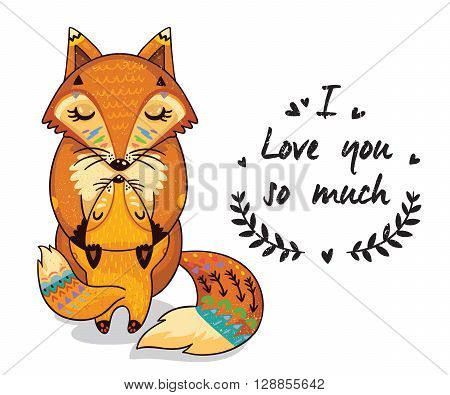 Cute vector card with mother and child foxes. Lovely card with hearts and text I love you so much
