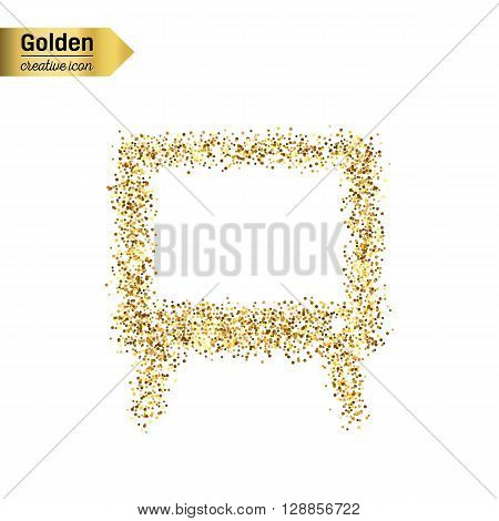 Gold glitter vector icon of TV screen isolated on background. Art creative concept illustration for web, glow light confetti, bright sequins, sparkle tinsel, abstract bling, shimmer dust, foil