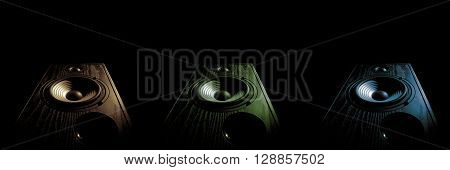 three images sound speaker of tinted in different colors on a black background isolated