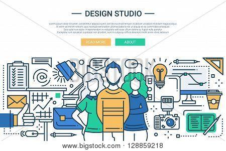 Illustration of vector modern line flat design website banner, header with professional design studio team