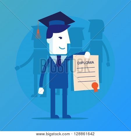Illustration of obtaining degree, diploma of university, college or business school. A man in a suit hold a degree certificate. Vector illustration eps 10