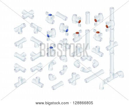 Vector Professional Set Of PVC Plumbing Elements. Full Isometric Views Collection