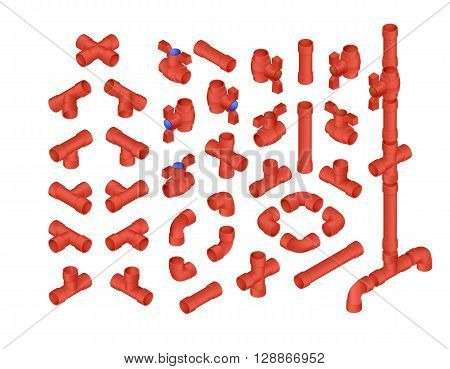 Vector Professional Set Of PVC Plumbing Elements For Hot Water. Full Isometric Views Collection