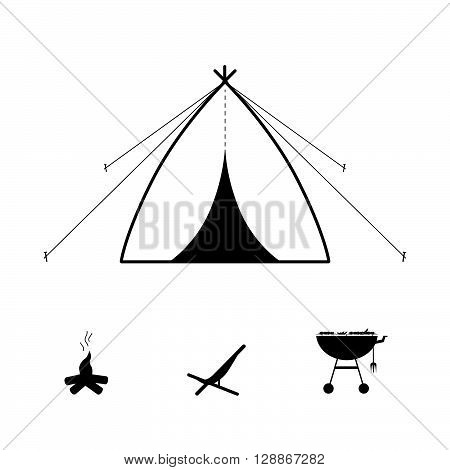 tent camping icon illustration in black on white
