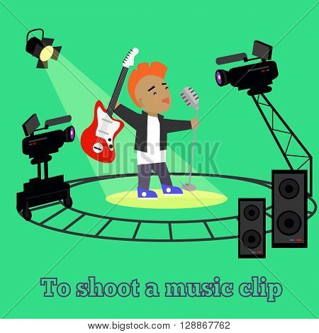 Music clip shooting camera and projector. Equipment for filming, professional camera on circular rails, it is glowing spotlight singer guitarist and speakers in studio green. Vector illustration poster