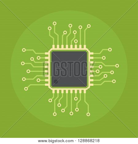 Computer chip vector flat icon. Icon computer chip isolated on a colored background. Design of computer chip with a network circuit. Computer chip technology symbol.