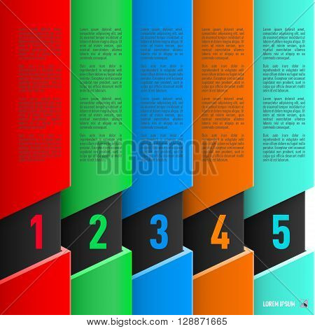 Infographics in paper style with colorful columns and numbered items from one to five