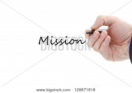 Mission text concept isolated over white background