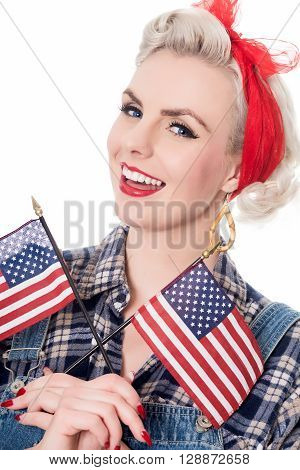 Beautiful Retro Woman Celebrates 4Th July, Isolated On White