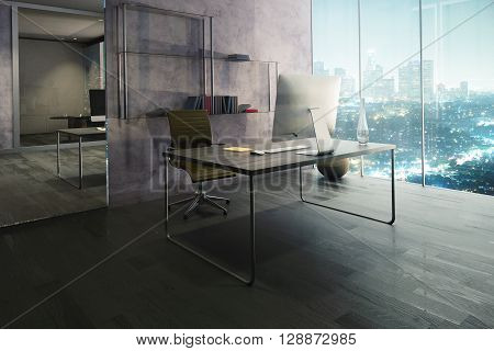 Side view of office interior with workplace wooden floor mirrow and illuminated night city view. 3D Rendering