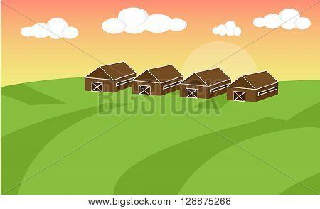 Farm flat landscape. Farm landscape concept. Farm landscape illustration. Farm landscape background. Farm background. Farmland concept. Vector illustration