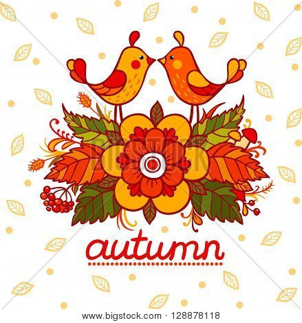 Stock in autumn style with birds and flowers.