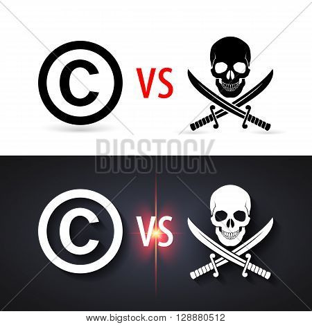 Fight copyright piracy. Protection sign authorship business