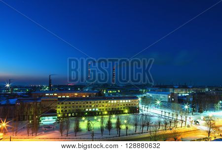 Top view of the factory at night. Russia city of Nizhny Tagil the production Association