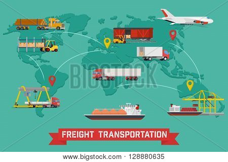 Vector infographic of worldwide shipping, heavy transport, delivery ways and logistics in business and industry with warehouse, trucks, airplane, railway and seaway cargo ship with abstract world map
