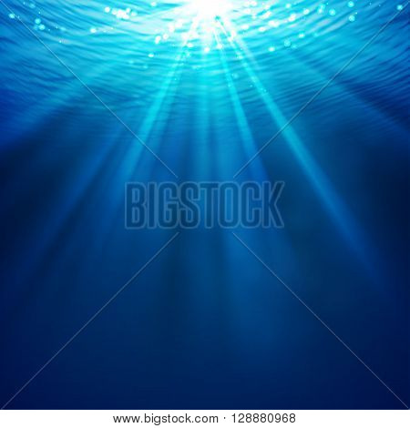 Abstract underwater background with sunlight and air bubbles in water