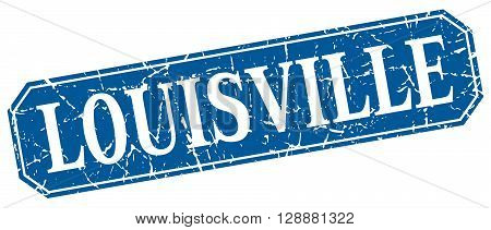 Louisville blue square grunge retro style sign