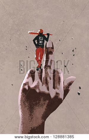 middle finger hand sign with bad guy holding wooden stick, illustration painting