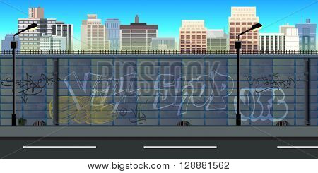 city game background 2d game application. Tileable horizontally. Size 1024x512. Ready for parallax effect