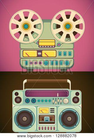 Retro audio and music equipment. Vector illustration.