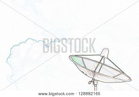 Satellite Dish And Clouds In Line Drawing Effect