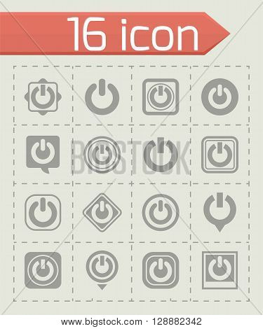 Vector Shut down icon set on grey background